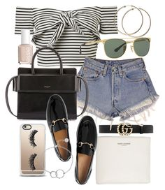 """""""Untitled #21052"""" by florencia95 ❤ liked on Polyvore featuring Gucci, Levi's, Essie, Yves Saint Laurent, Givenchy, Ray-Ban, Casetify, Chupi, men's fashion and menswear"""