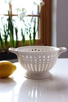 White Bungalow Ceramic Colander