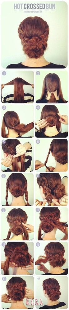 25 Tips And Tricks To Get The Perfect Bun Hair / hair braider cross braids bud head repulsed heatwave to Up Hairstyles, Pretty Hairstyles, Easy Hairstyle, Waitress Hairstyles For Long Hair, Hairstyle Ideas, Newest Hairstyles, Donut Bun Hairstyles, Wedding Hairstyles, Bridesmaid Hairstyles