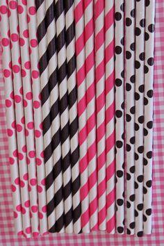 50 hot pink black stripe polka dot straws, paper straws, birthday party,event, cake pop sticks, bonus diy straws flag