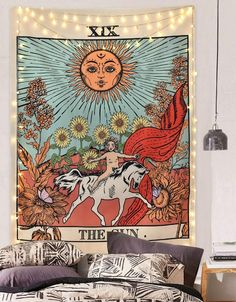 Amknn Tarot Wall Tapestry The Moon The Star and Sun Tapestry Medieval Europe Divination Tapestry Wall Hanging Decorations Mysterious For Bedroom Home Decor (Sun Tapestry, Ceiling Tapestry, Tapestry Bedroom, Tapestry Wall Hanging, Tapestry Beach, Sun And Moon Tapestry, Wall Hangings, Trippy Tapestry, Hippy Room, Hippie Room Decor