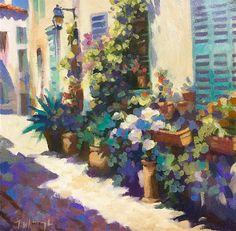"""""""Flowered Pots, Biot, France"""" Oil on card by Trevor Waugh © trevorwaugh.com"""