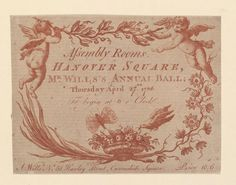 Ticket of Assembly Rooms, Thursday April 27th 1786, announcing Mr. Wills's annual ball