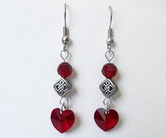 Red heart earrings Valentine's Day Celtic knots by DoBatsEatCats #dteam