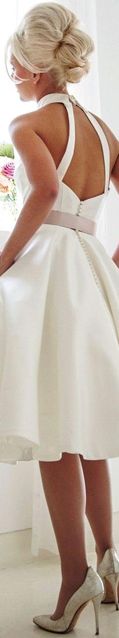 House of Mooshki 2017 bridal sleeveless halter high neck simple clean romantic tea length short wedding dress strap open back mercy