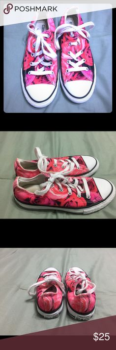 Floral Rose Printed Converse Size 1 These are in very good condition. I absolutely LOVED these shoes on my daughter. I am so sad that she grew out out of them. Converse Shoes Sneakers