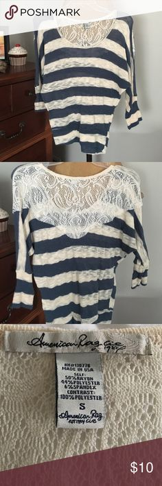 Sweater 3/4 sleeves; blue and beige; lace detail on the back American Rag Sweaters Crew & Scoop Necks