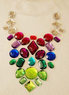 Big jewel floaty rainbow necklace!