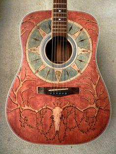 Deer Skull Guitar - Wood burned