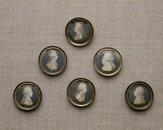 Buttons depicting political figures from the French Revolution, 1789-90.