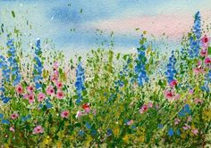 Splattered Paint Flower Garden: Create a splattered paint flower garden. No drawing is needed just lots of spontaneous fun for all ages and skill levels. Each one turns out different depending on the color of paint you use and the amount of splatters you Plant Drawing, Painting & Drawing, Art Et Illustration, Illustrations, Watercolor Flowers, Watercolor Paintings, Easy Watercolor, Watercolors, Poppy Field Painting