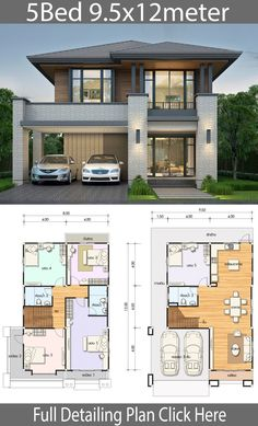 House design plan with 5 bedrooms - Home Ideas - House design plan with 5 bedrooms – Home Design with Plansearch - . - Home Design 2 Storey House Design, Bungalow House Design, House Front Design, Small House Design, Modern House Design, House Exterior Design, Modern Architecture House, House Architecture, 5 Bedroom House Plans
