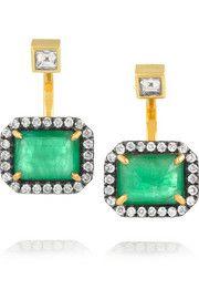 Jemma Wynne 18-karat gold, diamond and emerald earrings