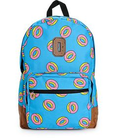 Carry your gear in comfort with mesh lined padded shoulder straps and back on a blue colorway with an all over Odd Future donut logo print.