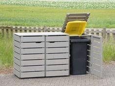 3er Mülltonnenbox Holz, Transparent Geölt Grau
