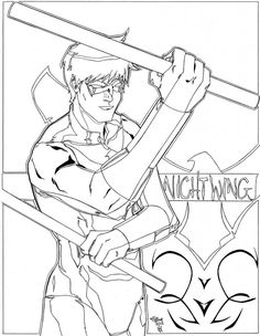 free nightwing coloring pages printable