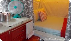 I love this pop up camper makeover. The red cabinets just pop! campin',Camping,CAMPING and TRAILERS, Old Campers, Retro Campers, Camper Trailers, Vintage Campers, Happy Campers, Pop Up Tent Trailer, Red Cabinets, Popup Camper, Truck Camper