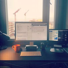 Clean Mac Setup Working Desk Space, External Monitor and MacBook Pro, Screen: Dell P2414H, Speakers: Bose