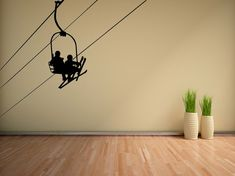 Ski wall art, ski lift chair wall decal, ski lift chair sticker, ski decor…