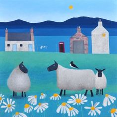An online gallery of Scottish Art showing a selection of paintings by Scottish Artist Ailsa Black Sheep Paintings, Baa Baa Black Sheep, Sheep Art, Naive Art, Wildlife Art, Lambs, Pet Gifts, Art Forms, Folk Art