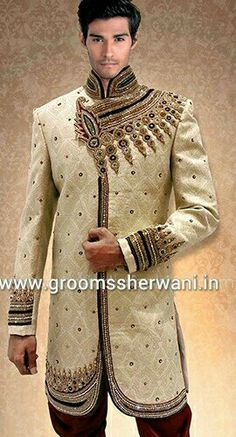Beautiful groom sherwani created by groom sherwani designer only Cost $ 320 Find the best groom sherwani at www.groomssherwani.in