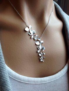 Orquídea cascada collar de plata regalo boda día de por PiperBlue