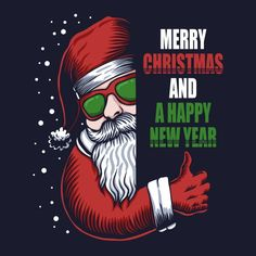 Santa Eyeglasses Merry Christmas Happy New Stock Vector (Royalty Free) 1548285500 Christmas Cartoons, Christmas Poster, Christmas Ad, Best Christmas Gifts, Christmas Design, Happy New Year Text, Happy New Year Vector, Merry Christmas And Happy New Year, Happy New Year Design