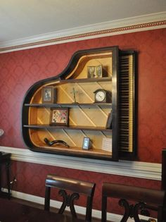 The vintage Vose & Son's baby grand piano bookshelf         http://pinterest.com/cameronpiano
