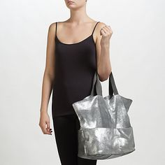 Buy Kin by John Lewis Bronte Distressed Leather Tote Bag, Silver Online at johnlewis.com