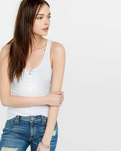 A super soft take on the classic ribbed slim-shape tank with a five-snap placket. Layered or alone, it's always sexy.