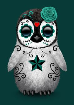 I need a tattoo of this! TEAL BLUE DAY OF THE DEAD SUGAR SKULL PENGUIN by Jeff Bartels