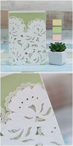 elegant laser cut wedding invitations with green inner cards