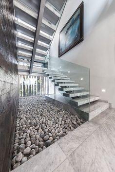 Marmortreppe glas Geländer Ästhetik-designtreppe