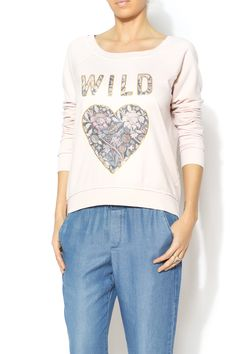 Lightweight longsleeve blush sweatshirt with wild heart graphic. Machine Wash Cold. Tumble Dry Low. Wild Heart Sweater by Chaser. Clothing - Tops - Long Sleeve Clothing - Sweaters - Crew & Scoop Neck Clothing - Tops - Casual Mississippi