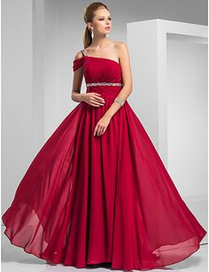 Sheath/Column One Shoulder Sweep/Brush Train Chiffon Evening Dress
