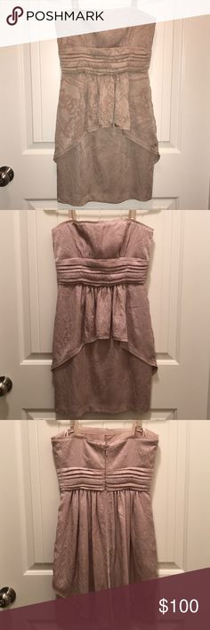 MAKE AN OFFER! BCBGMAXAZRIA Beige Tube Dress Super cute BCBG Dress perfect for a special occasion! Can be worn as a Tube Dress or worn with straps! Never worn (not my size)  Store: BCBG Style: Tube Dress (with removable straps  Color: Beige Size: 2 BCBGMaxAzria Dresses Strapless
