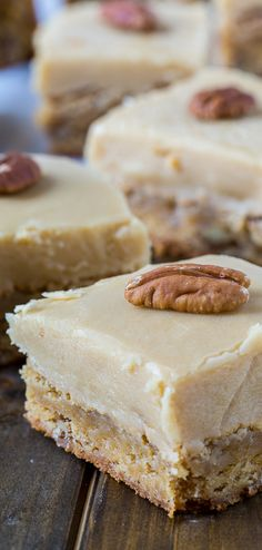 Butterscotch Blondies with an extra thick layer of brown sugar frosting.
