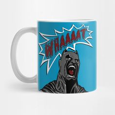 """Shop Batman """"Whaaaat"""" dc comic mugs designed by FejuLegacy as well as other dc comic merchandise at TeePublic. Mug Designs, Dc Comics, Batman, Mugs, Tableware, Unique, Dinnerware, Cups, Dishes"""