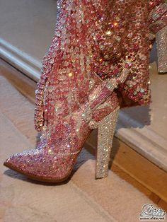 The fabulous pink jeweled boots of Dita Von Teese
