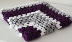 Granny Square  Baby Blanket  Purple Gray White by TheStitchinMommy, $35.00  love the colour combo