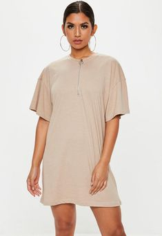14d2c51abe23 Stone Zip Front TShirt Dress | Missguided Australia