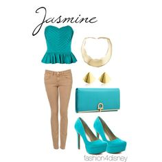 Loving this idea of character-inspired fasion. This one is Jasmine, created by fashion4disney.