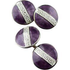 Vintage Art Deco Purple And White Guilloche Enamel Greek Key Double Sided Cufflinks