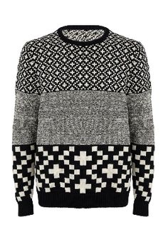 Graphic Print Men's sweater, black and white, (brand unknown).