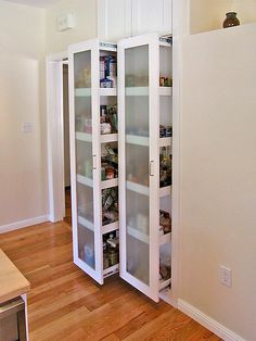 Replace pantry closet with two pullout shelving units accessible from both sides.  All items come out to you, instead of getting stacked behind other items on a fixed shelf.