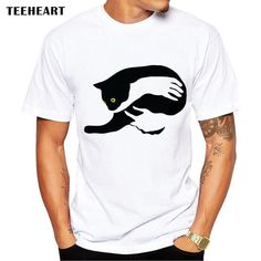 Men Women Tee Shirt Cute Animal Print Black Cat Graphic Cotton T-shirt Tops - Cat Tshirt T Shirt Chat, Tee Shirt, Compression T Shirt, Cheap T Shirts, Funny Tshirts, Funny Cats, Mens Tops, Pocket, Pet Logo