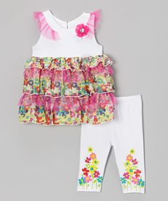 Pink Floral Tiered Top & White Leggings - Toddler & Girls | zulily