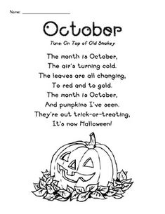 """October"" poem kindergarten | October Poetry Pack - Simple and Direct"