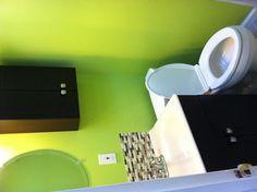 My bathroom! The color is Benjamin Moore Pear Green