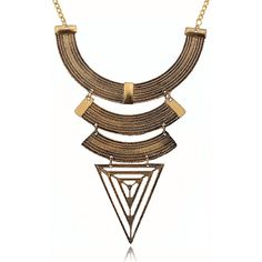 Triangle Pendant Layered Bib Necklace (¥1,575) ❤ liked on Polyvore featuring jewelry, necklaces, gold, bib necklace, triangle bib necklace, triangle necklace, triangle jewelry and multi layer necklace